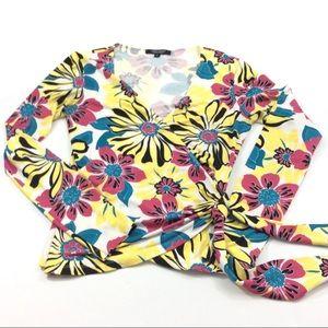 Karen Kane faux wrap long sleeve Floral top S